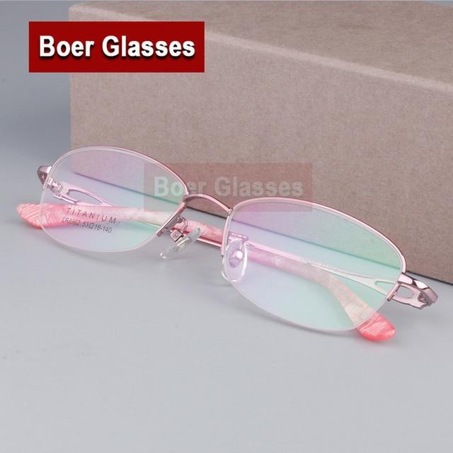 45a57f9a11 Pure Titanium Eyeglasses Half Rim Optical Frame Prescription Women Spectacle  Reading Myopia Eye Glasses 8962 (53-17-140)