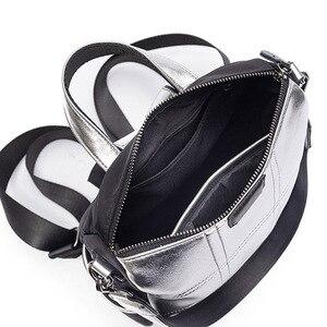 Image 5 - حقيبة جلدية فضية للنساء حقيبة ظهر مرقعة حقيبة ظهر أنيقة للسيدات ماركة كورية مضادة للسرقة حقيبة ظهر mochila XA432H