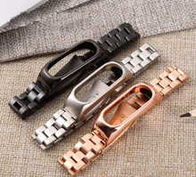 Newest Strap For Xiaomi Mi Band 2 3 4 Stainless Steel metal Bracelet For MiBand 2 3 4 Wrist bands Replacement For Mi Band2 3 kinco black sliver rose gold stainless steel fashion fold buckle wrist bands strap for xiaomi miband 2 mi band2 wristband straps