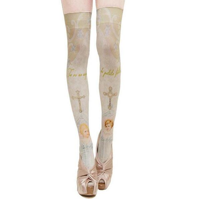 1 unid Cultura Romana Estilo Lolita Harajuku Impresión Stocking Mujeres Calle Chica Stocking Medias Sobre la rodilla de La Moda de Primavera Otoño