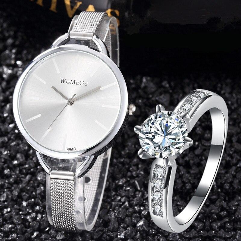 Women Watches Bangles Set Fashion Watch Silver Steel Ladies Wristwatch With Ring Female Montre Bracelet Hodinky Relogio Feminino