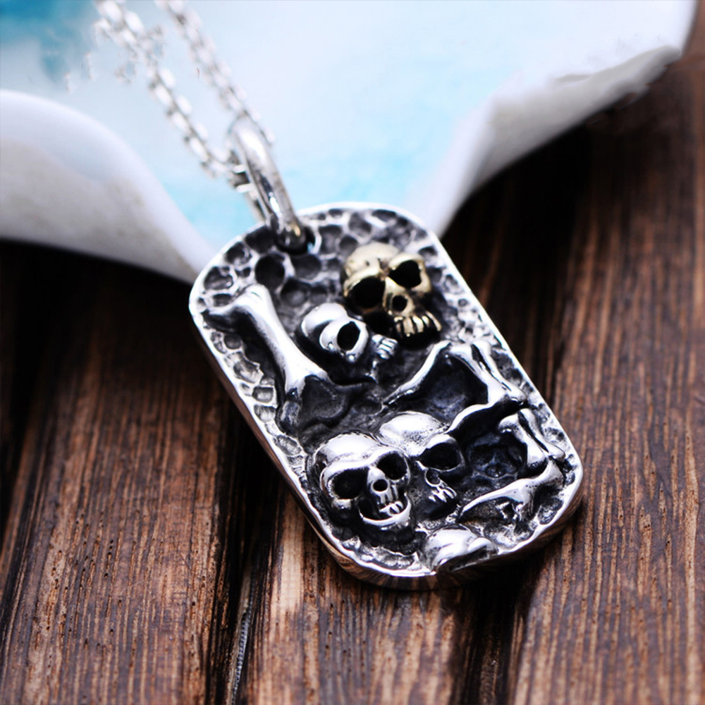 MetJakt Hand Carved Skull Pendant Solid 925 Sterling Silver Pendant for Men's Vintage Thai Silver Punk Rock Personality Jewelry