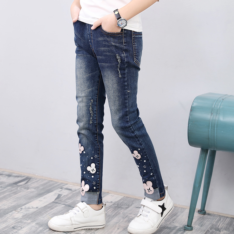 2018 winter children's clothes skinny printed fleece thicken baby girl jeans for girls kids casual jeans long trousers black long jeans woman casual pencil pants girl washed rhinestones hot drilling printing skinny long women jeans capris female