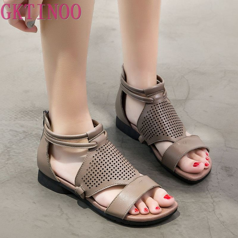 GKTINOO Rome Style Casual Woman Flat Heel Sandals Summer 2019 Sandalias Mujer Gladiator Women Sandals Genuine