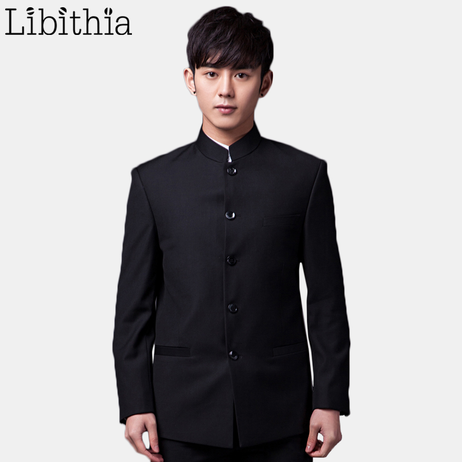 men chinese tunic suits mao suit zhong shan clothes stand collar black white grey blue jacket - Costume Col Mao Mariage