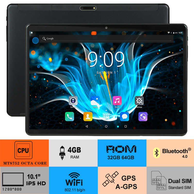 Google Android 8.0 Octa Core 10 inch Tablet 4GB RAM 64GB ROM 2.5D Glass 1280X800 IPS WIFI GPS Netflix Youtube tablets Pad