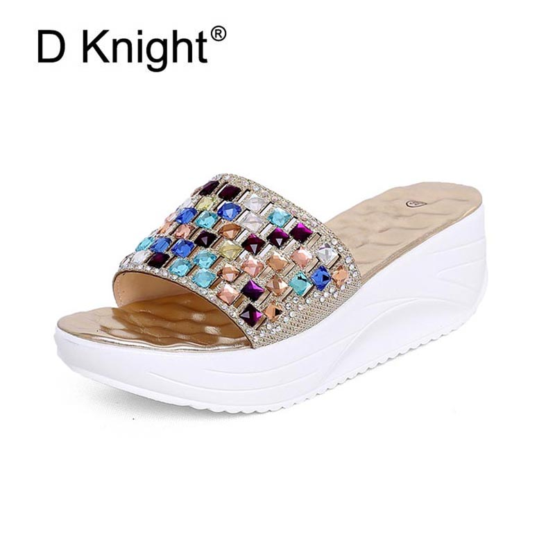 12bdc40177d Bling Crystal Wedges 2018 Summer Sandals Sequined Cloth Glitter Platform  Slides Party Wedding Shoes Woman Gold Silver High Heels-in Slippers from  Shoes on ...