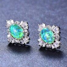 Bamos White/Green Fire Opal Stud Earrings Geometric Rainbow