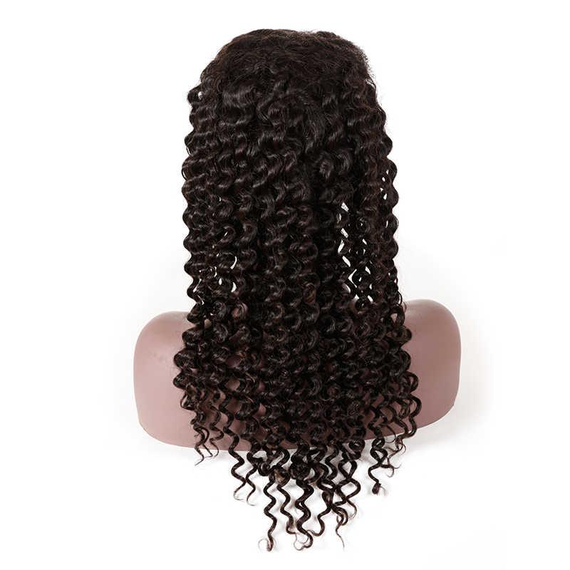 13x6 İsviçre Dantel ön peruk Siyah Kadınlar Için Derin Dalga Brezilyalı İnsan Remy Saç Doğal Renk Ön Koparıp 130% 150% 180% Yoğunluk