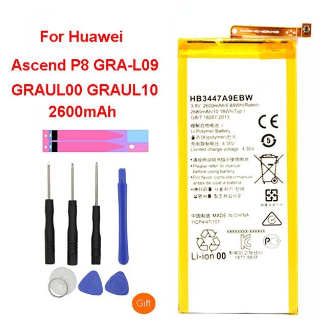 QrxPower מקורי החלפת סוללה 2600 mAh HB3447A9EBW סוללה עבור Huawei Ascend P8 GRA-L09/UL00/CL00/TL00/ TL10/UL10