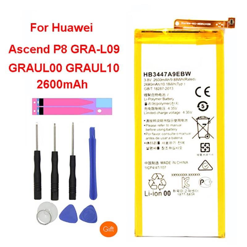 QrxPower batterie de remplacement originale 2600 mAh HB3447A9EBW batterie pour Huawei Ascend P8 GRA-L09/UL00/CL00/TL00/TL10/UL10QrxPower batterie de remplacement originale 2600 mAh HB3447A9EBW batterie pour Huawei Ascend P8 GRA-L09/UL00/CL00/TL00/TL10/UL10