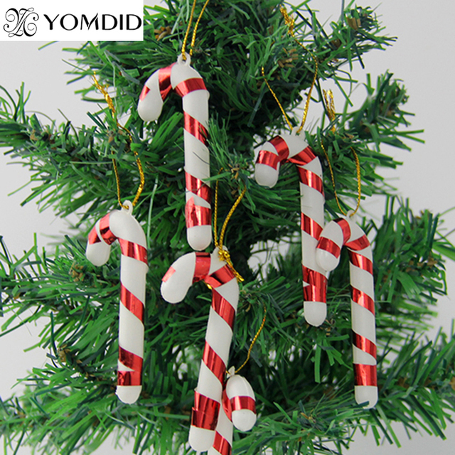 12 pcs christmas candy cane christmas tree hanging decoration festival party bar ornament baubles candy cane