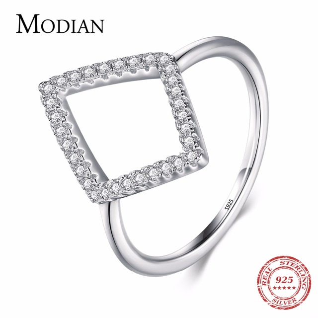 Instagram Design Genuine 925 Sterling Silver Geometric Ring Fashion Cubic Zircon