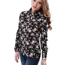 2016 New Women Cotton Blouse Long-sleeve Printed Flowers Shirts Casual Slim Floral Blusas Femininas Camisas Roupas