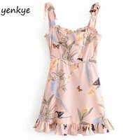Sexy Sling Sommer Kleid 2019 Frauen Fliege Schulter Vintage Print Rüschen Kleid Dame Ärmel Boho Strand A-line Mini Kleid