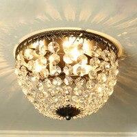 Ретро американский стиль кристалл потолочный светильник Творческий Круглый спальни приспособление освещения коридорах отдельных ламп E14