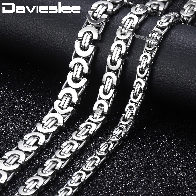 Davieslee Necklace for Men Flat Byzantine Link Silver Black Gold Chain Stainless Steel Wholesale Vintage Jewelry 6/8/11mm LKNM22 le suit women s avignon woven dress pant