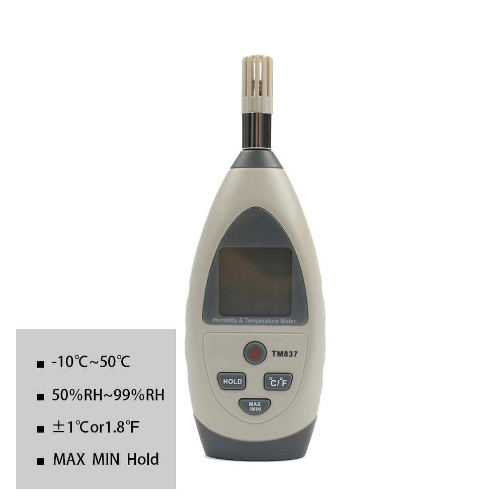 TECMAN TM837 Temperature and humidity meter tester measuring instrument Professional -10~50C +/-1C RH 5% ~99% RH+/-5% indoor air quality pm2 5 monitor meter temperature rh humidity