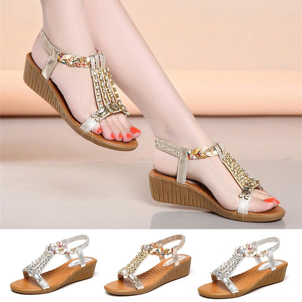 2019 Neue Ankunft Frauen Keile Damen Sommer Kristall Bling Keile Böhmen Strand Schuhe Römischen Sandalen Chaussures Femme Ete # @ A30
