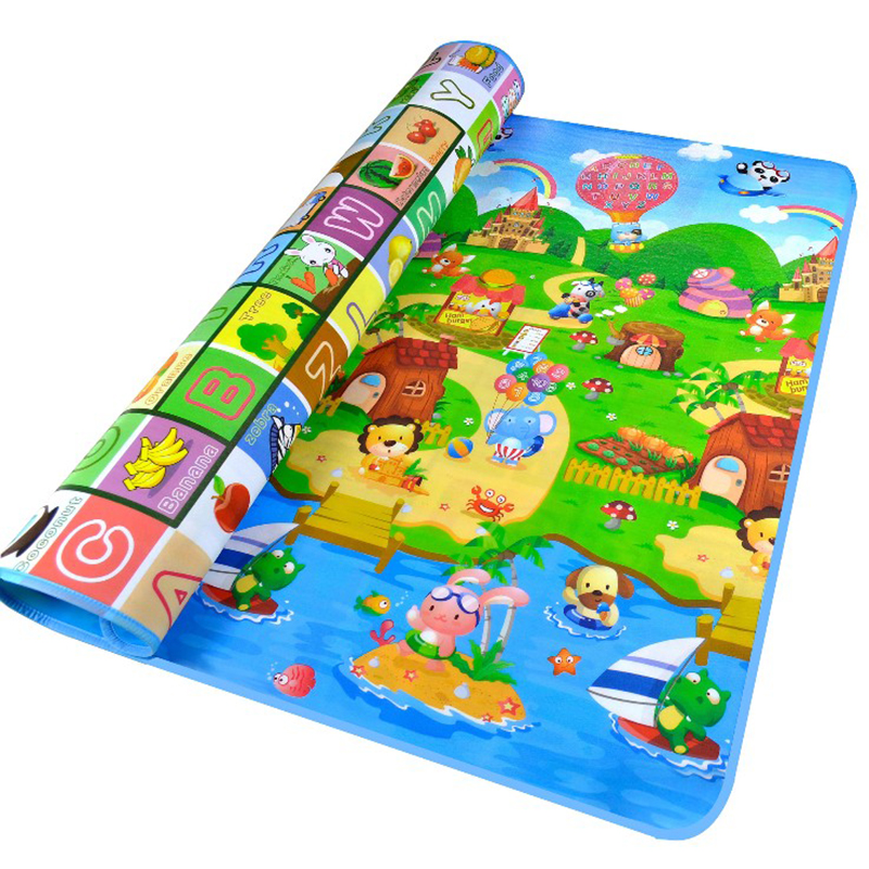 Щасливі ферми і фрукти листи Двосторонні килимок для гуляння дитини, м'які килимки для немовлят, активність дитячої піни