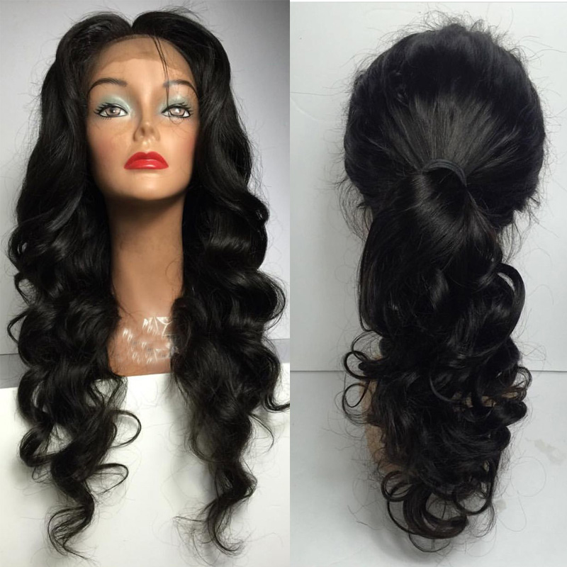 LUFFYHAIR 13x6 Lace Front Wig Indian Remy Hair Body Wave Natural Black 6 Inch Deep Parting