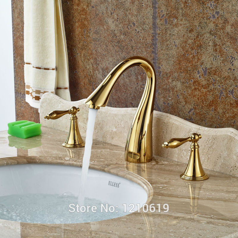 Newly 3Pcs Dual Handles Bath Sink Faucet Mixer Tap Golden Polished Basin Faucet Hot&Cold Water Tap Deck Mounted golden brass kitchen faucet dual handles vessel sink mixer tap swivel spout w pure water tap