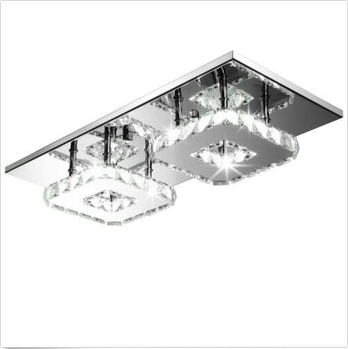LED  K9 Crystal LED Ceiling Pendant Lamp 2 Head Cool White Chandelier Lights Size:45*21*9cm modern k9 crystal led ceiling pendant lamp 2 head cool white chandelier lights size 45 21 9cm