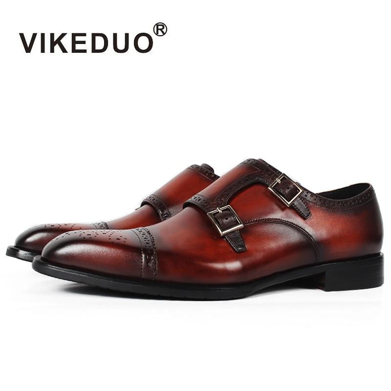 Vikeduo 2019 Limitée À La Main Chaude fait sur mesure Véritable chaussure en cuir Richelieu Bureau Partie De Mariage Marque Designer Hommes chaussures de moine