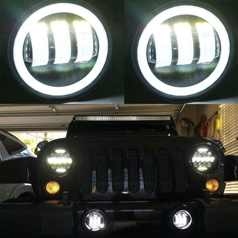 For Jeep Wrangler Dodge Journey Magrum Chrysler Cherokee 2PCS 4 Inch 30W Round LED Passing Fog Lights LED Driving Lamp