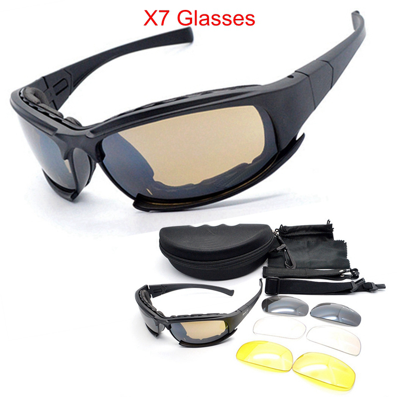 D A I S Y. X7 Army Goggles Sunglasses Men Military Sun glasses 4 Lens Kit For Men's War Game Tactical Cycling Glasses Outdoor