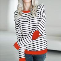 2018 Moda Najnowszy Kobiety Koszulki Z Długim Rękawem Miłość Wzór W Paski O-neck T shirt Dorywcza Kobiet Eleganckie Panie Trójniki Topy