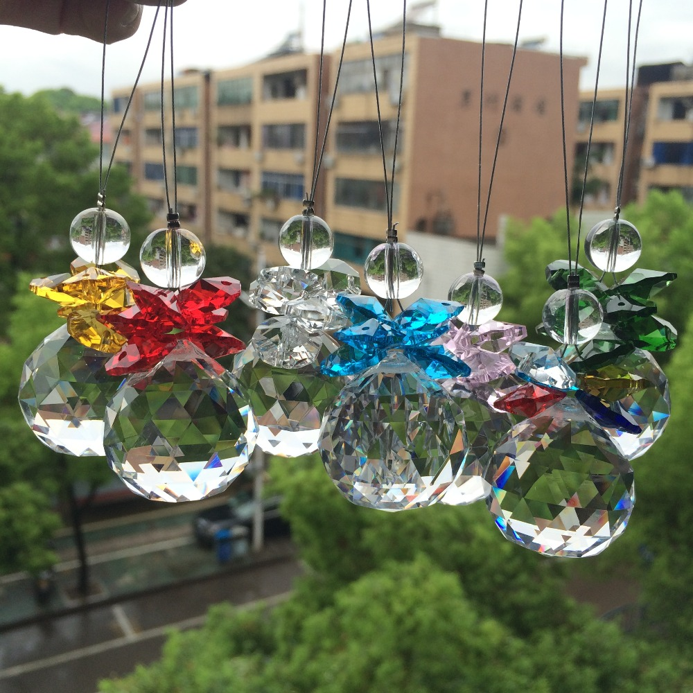 Beautiful <font><b>Glass</b></font> Beads With <font><b>Crystal</b></font> faceted ball Pendant For Christmas Tree Decoration/ <font><b>Suncatcher</b></font> Hanging Home Decoration image