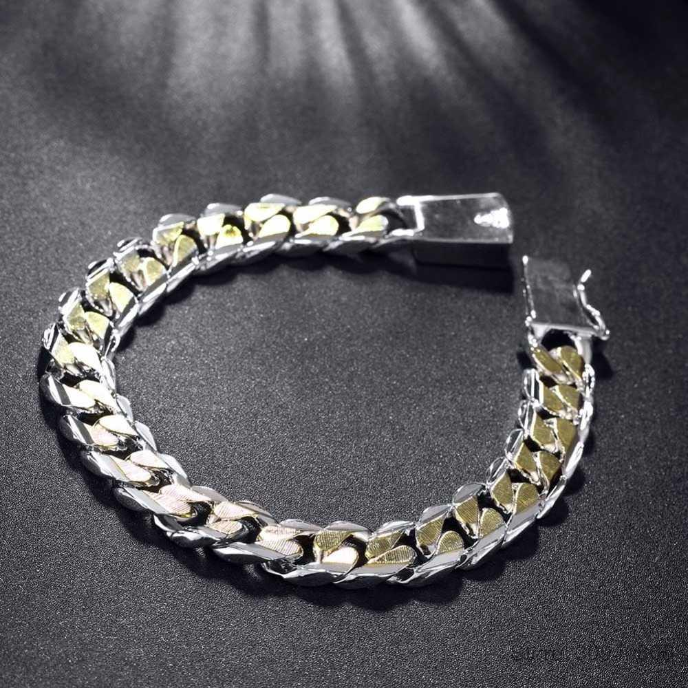 גברים של תכשיטי צמיד Pulseras 925 כסף 10mm רוחב 21cm עבה מעולה אופנה כסף צמיד נשים בסדר תכשיטים