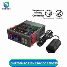 SHT2000 Dual Led Digital Temperature Humidity Controller Switch AC110-220V DC12-72V Thermostat Thermometer Hygrometer Regulator wsk303 frame size 96 96mm led digital display temperature and humidity controller