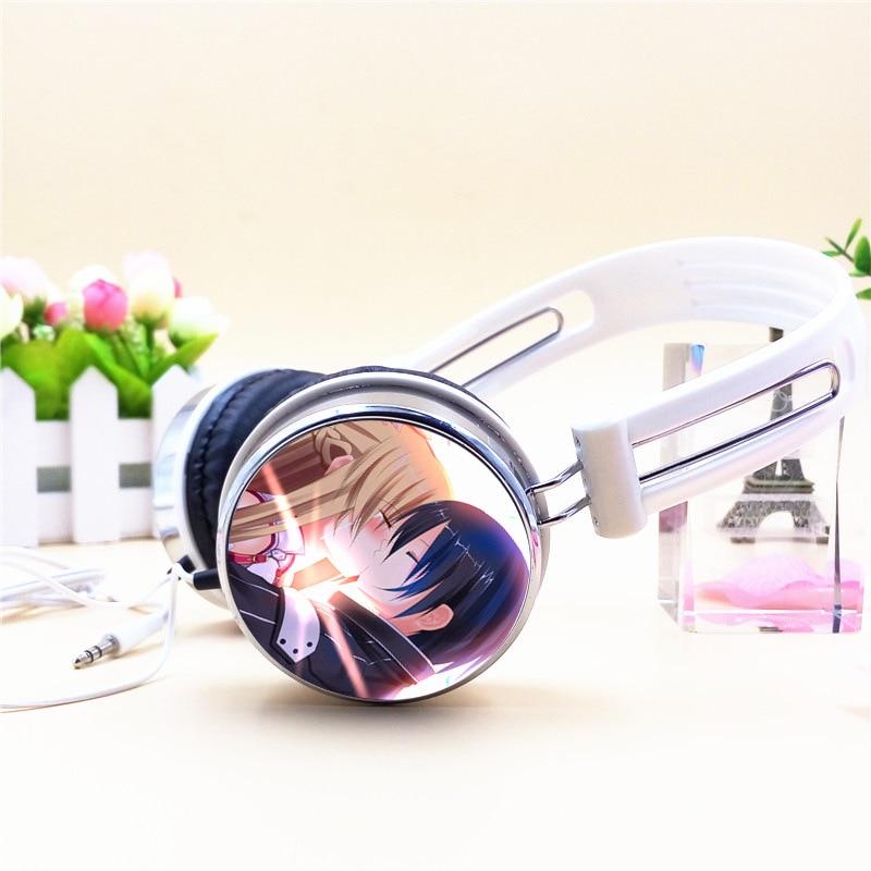 Custom Sword Art Online Kirito Asuna SAO Anime Headphone Adjustable Headphones Gaming Headset Stereo Headphones for Phone Mp3 PC