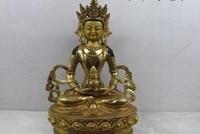 Tibet purple Copper Gild Amitayus Avalokitesvara GuanYin Kwan Yin Goddess Buddha
