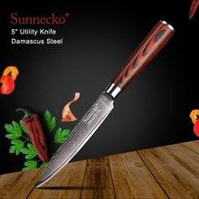 SUNNECKO 5 inch Utility Knife Kitchen Knives Japanese Damascus VG10 Steel Pakka Wood Handle Chef Cutting Sharp Blade 60HRC