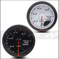 FUEL PRESS gauge universal car instrument 2.5 Inch 60mm White + red light color Free shipping