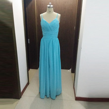 Real Photo Blue Floor Length Chiffon Bridesmaid Dresses Spaghetti Straps NO PS Natural Waist Formal Party Dress For Wedding