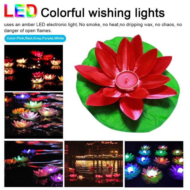 Tuin Decoratie LED Stof Licht Kleurrijke Willen Lichten Elektronische Kaars Lotus Lamp Zijde Doek Lotus Lamp