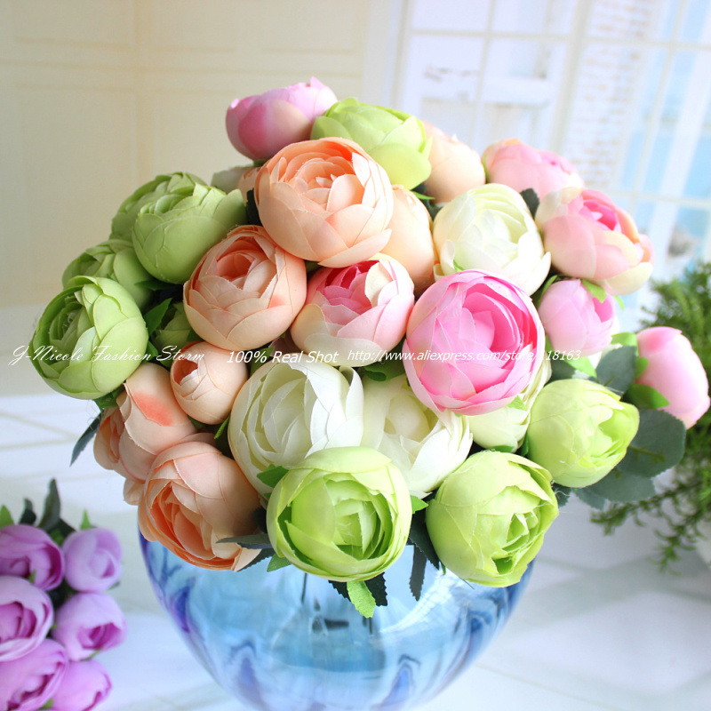 Silk spring flowers image collections flower decoration ideas 1pc artificial spring 12 heads big size tea rose bouquet decorative 1pc artificial spring 12 heads mightylinksfo Images