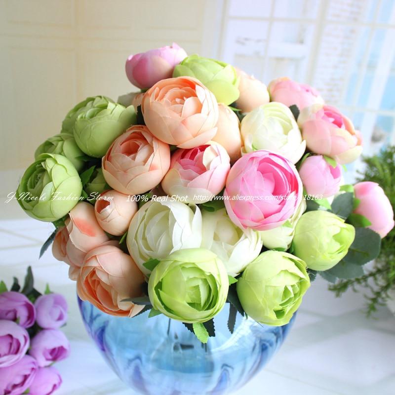 1pc Artificial Spring 12 Heads Big Size Tea Rose Bouquet Decorative ...