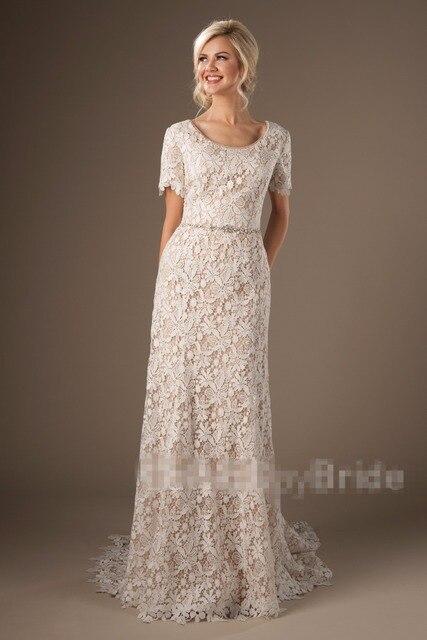 Vintage Spitze Modest Spitze Brautkleider Mit Kurzen Ärmeln Mantel ...
