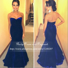 Long Elegant Prom Dresses 2017 Royal Blue Sweetheart Neck Off The Shoulder High Quality Velvet Fabric Mermaid Prom Dress