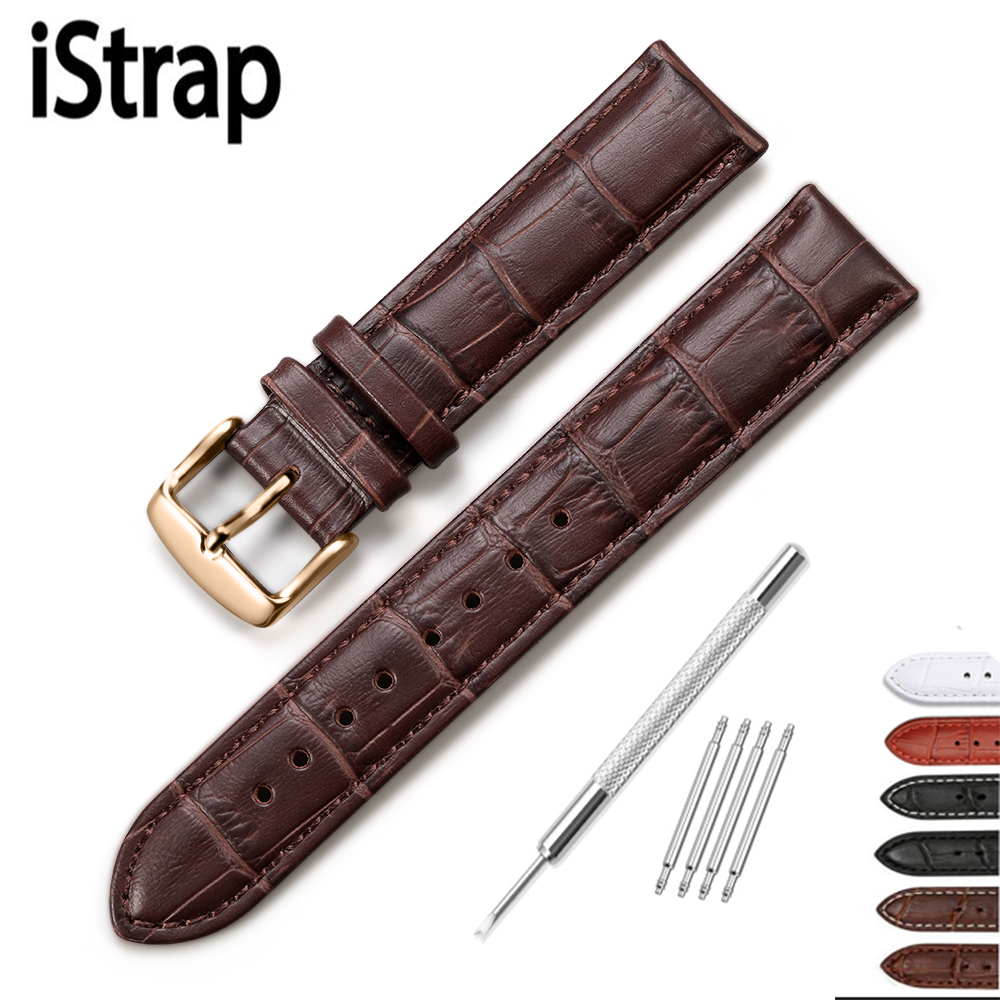 iStrap 13 14 15 16 18 19 20 21 22 24mm Rose Gold Buckle Leather Strap Black Brown Watch band Alligator Grain Bracelet for Tissot 14 16 18 19 20 21 22 24mm crocodile skin watch strap for jaeger lecoultre mido blancpain gold deployment buckle watchband men cr