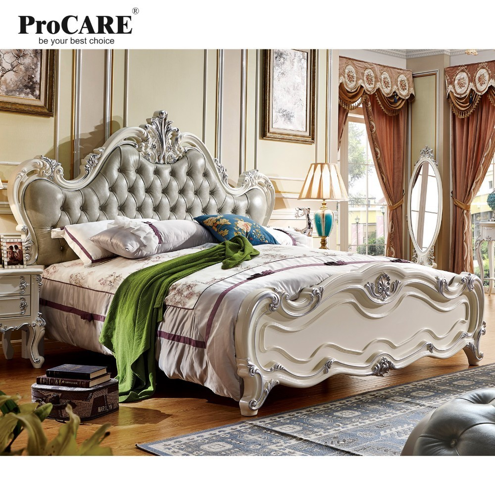 luxury European and American style furniture  royal series bedroom furniture set solid wood/panel leather bed