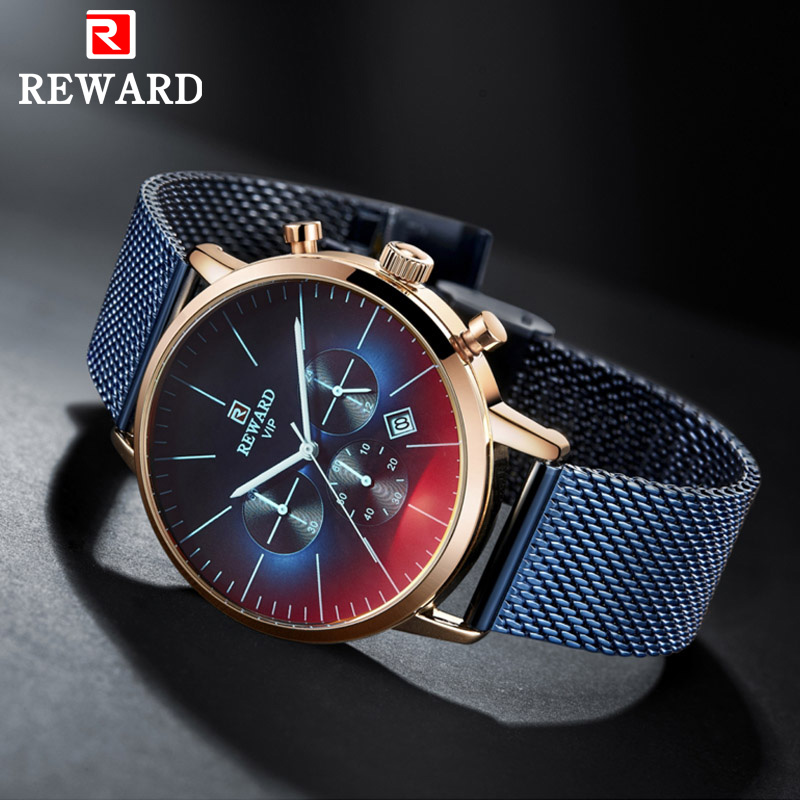 REWARD 2019 New Fashion Color Bright Glass Watches Men Top Luxury Brand Chronograph Male Gift Stainless Steel Casual Watch