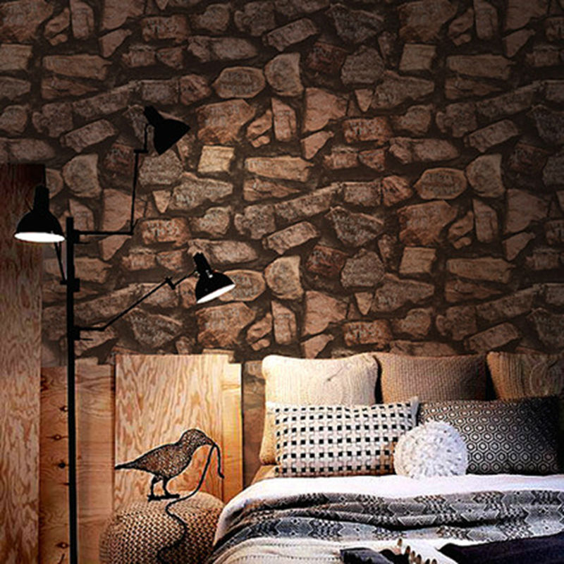Фотография Thick Vinyl Vintage Rustic 3D PVC Textured Effect Stacked Stone Wallpaper Roll Retro Rock Wall Paper Waterproof & Washable