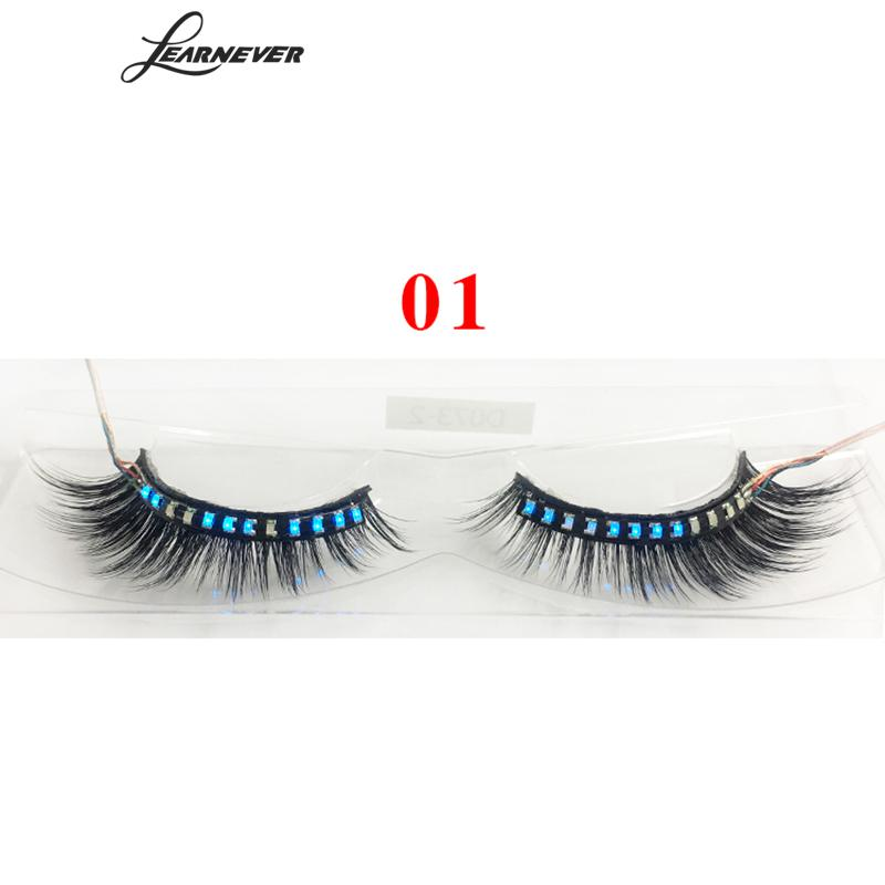LEARNEVER LED Eyelashes With Battery 3D Makeup Hand Made Natural Long Thick False Fake Lashes Synthetic Hair Eyelash Extension