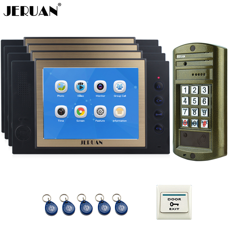 JERUAN  8 inch Video Door Phone Intercom System kit 4 Record Monitor + NEW Metal Waterproof Access Password HD Mini Camera 1V4 jeruan 8 inch video door phone high definition mini camera metal panel with video recording and photo storage function